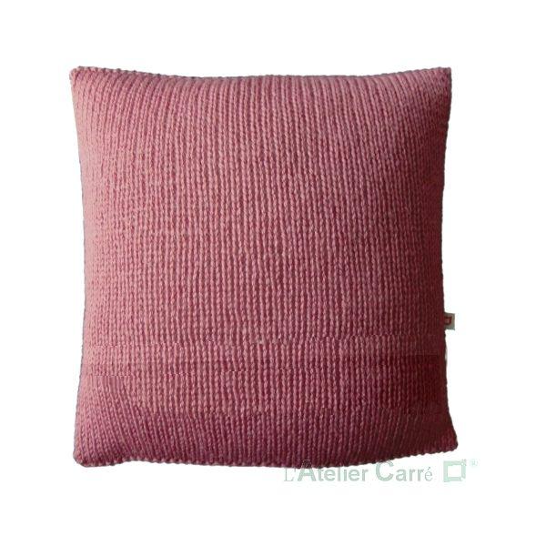 coussin-personnalise-mot-tricot-rose-ancien