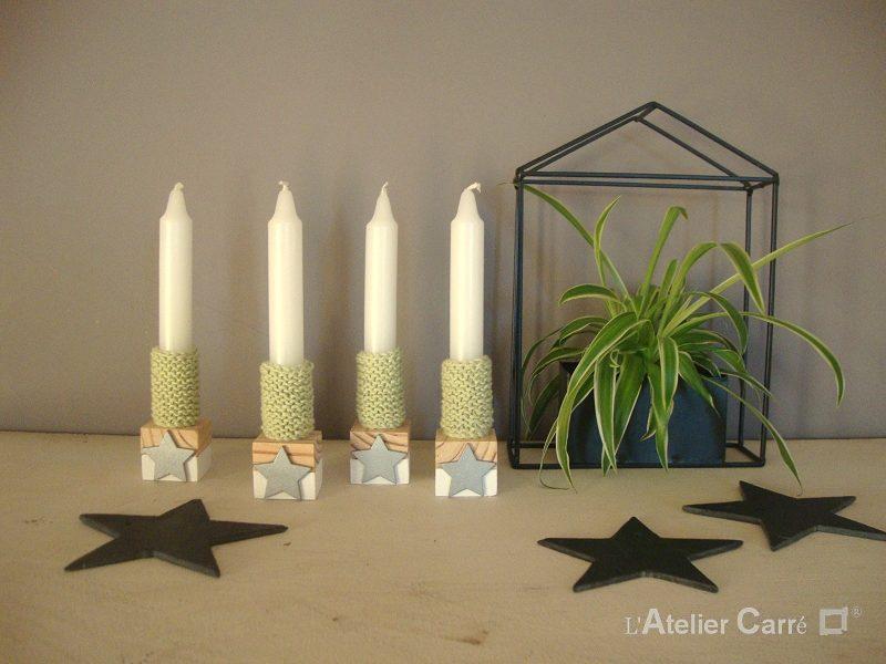 bougeoirs en bois bicolore et chaussettes à bougies vert clair