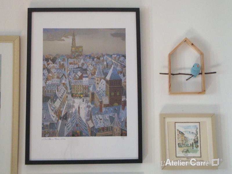 etagere decorative maison et oiseau au crochet bleu