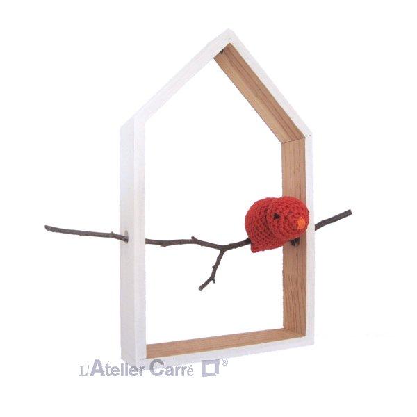 étagère décorative forme maison et oiseau au crochet