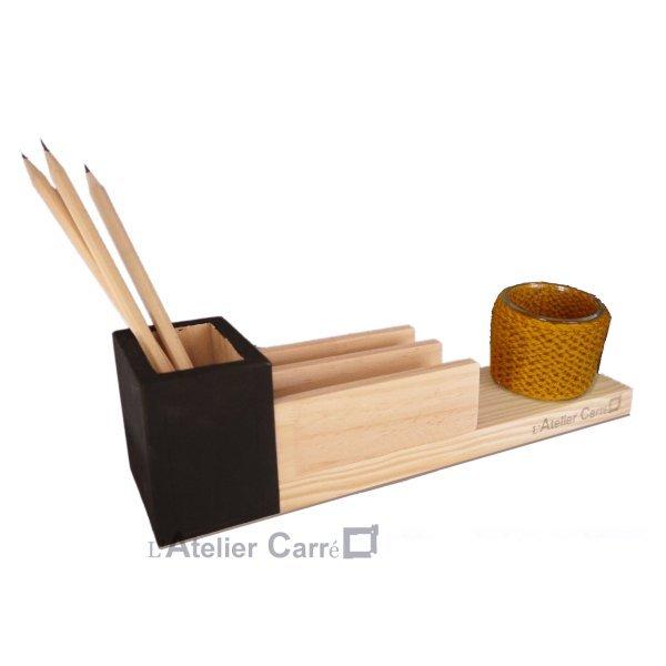 organiseur de bureau en bois et pot à plante