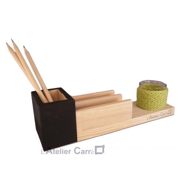 Organiseur de bureau en bois bicolore et pot en laine