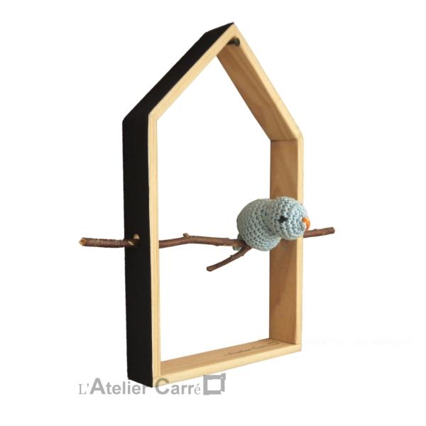 decoration maison oiseau bois et crochet