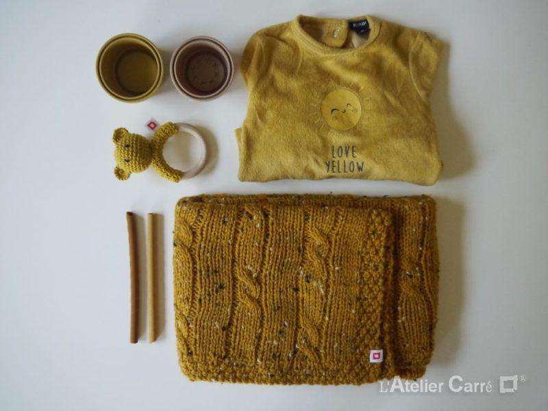 plaid bébé en tricot torsadé laine tweed moutarde
